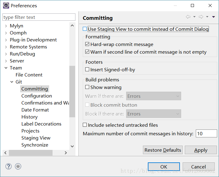 eclipse git commit 显示窗口不对- 程序员大本营